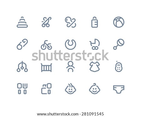 New born and baby icons. Line series - stock vector
