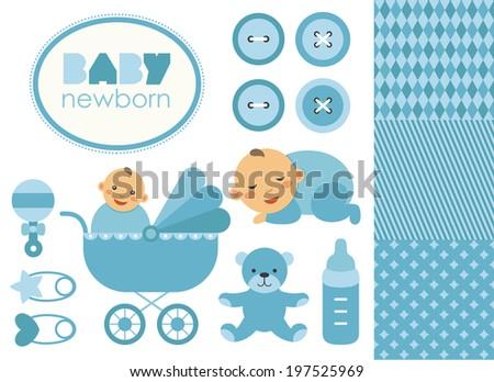new born babies elements set design. vector illustration - stock vector