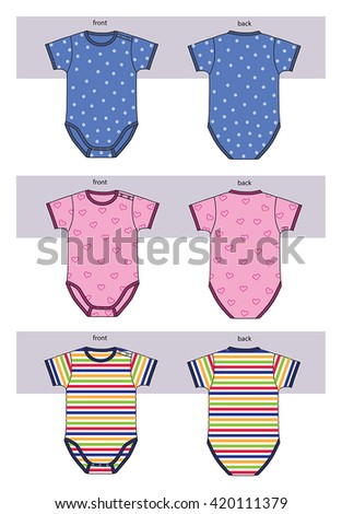 new born baby clothes for boys and girls - stock vector