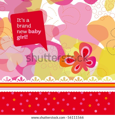 New born baby girl card design with butterfly and flowers in vector