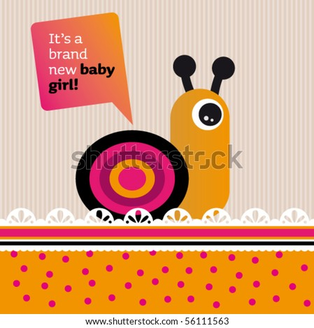 New born baby girl card design with helix in vector - stock vector