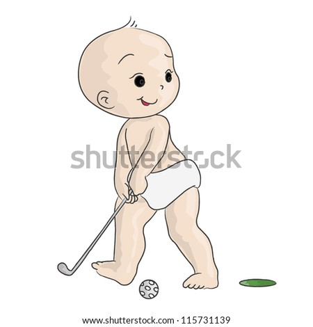 new born boy playing golf on white background ,illustration