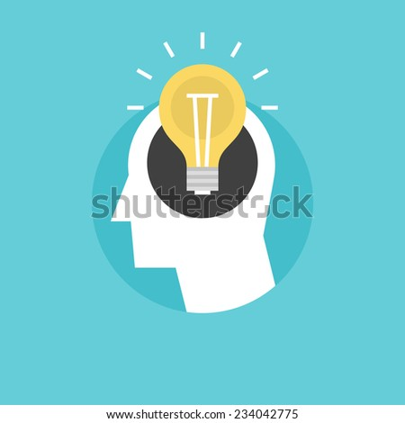 New bright idea form human head, thinking about success solution, lightbulb as creativity metaphor. Flat icon modern design style vector illustration concept. - stock vector