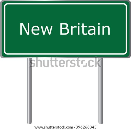 New Britain , Connecticut , road sign green vector illustration, road table, USA city - stock vector