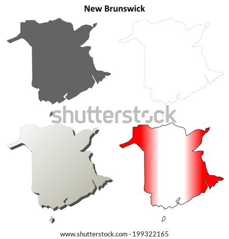 New Brunswick blank outline map set - vector version - stock vector