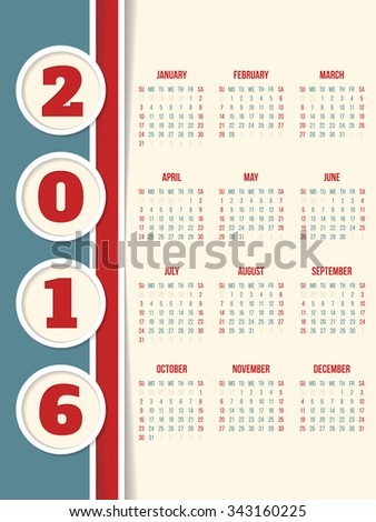 New calendar design for year 2016 with circles  - stock vector