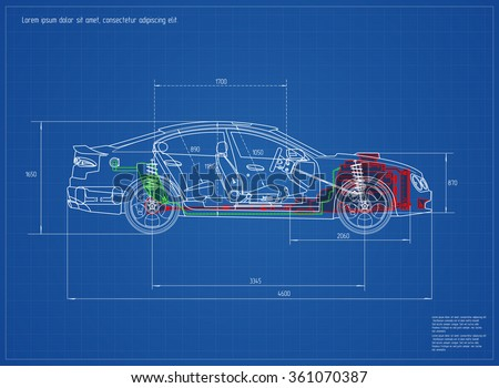 New car blueprint vector illustration eps stock vector 361070387 new car blueprint vector illustration eps 10 malvernweather Images