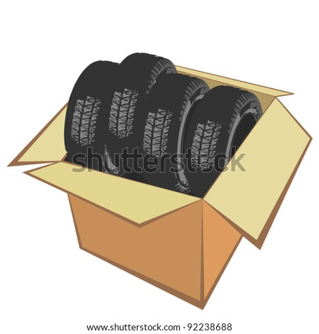New car tires in the box - stock vector