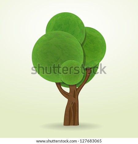 new cartoon style tree icon isolated on white background can use like design element - stock vector