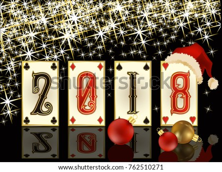 New 2018 casino poker year greeting card, vector illustration