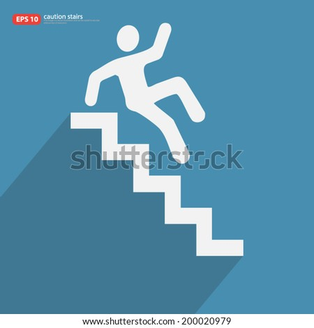 New caution stairs icon with shadow vector design - stock vector
