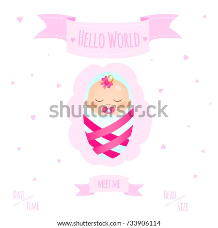 New child born baby newborn greeting stock vector 733906114 new child born baby newborn greeting card with girl kid in diapers words hello world m4hsunfo Images