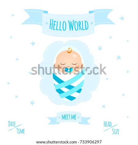 New child born baby newborn greeting stock vector 733906297 new child born baby newborn greeting card with girl kid in diapers words hello world m4hsunfo