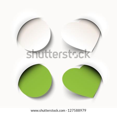 new circle and heart shaped tag - stock vector