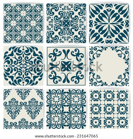 New Collection of 9 ceramic tiles, retro blue style  - stock vector