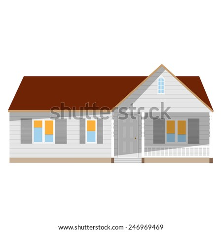 New cottage, house one story, real estate, home vector isolated, sale - stock vector