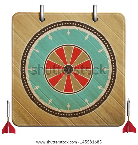 new dartboard icon with vintage style target can use like retro style design element - stock vector