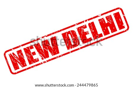 New delhi red stamp text on white - stock vector