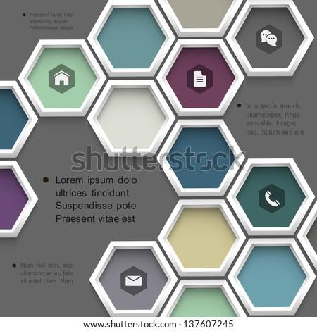 New design hexagons background for website .Vector template - stock vector