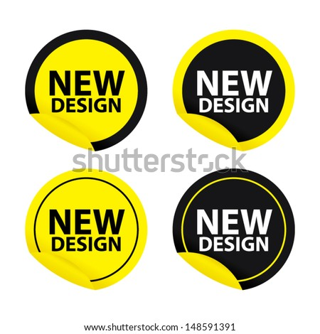 New Design  Version yellow stickers set. New Design Stock Images  Royalty Free Images   Vectors   Shutterstock