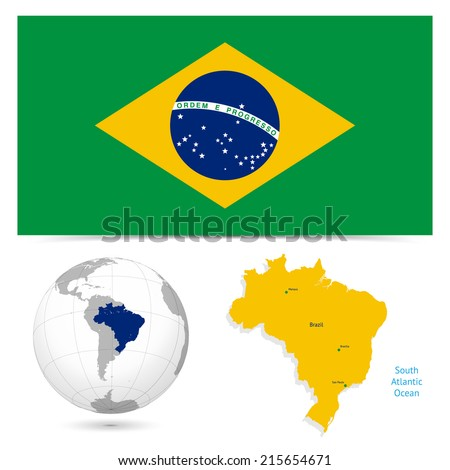New Detailed vector  flag with Map world of brazil. Names, town marks and national borders are in separate layers. with globe That separates by Continent. - stock vector