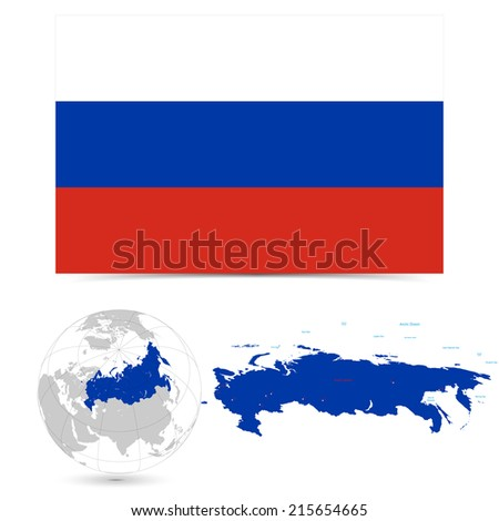 New Detailed vector  flag with Map world of Russia. Names, town marks and national borders are in separate layers. with globe That separates by Continent. - stock vector