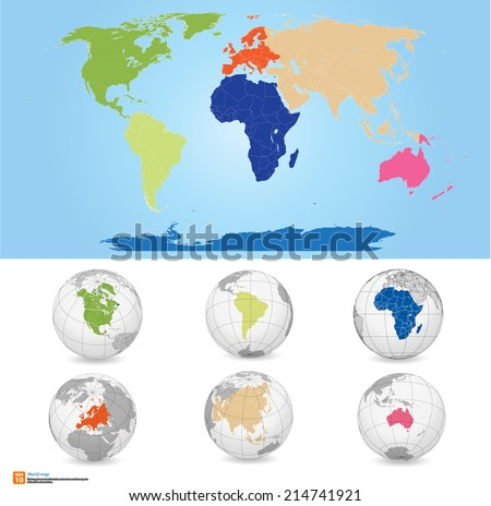 New Detailed vector Map world of colors. Names, town marks and national borders are in separate layers. with globe That separates by Continent. - stock vector