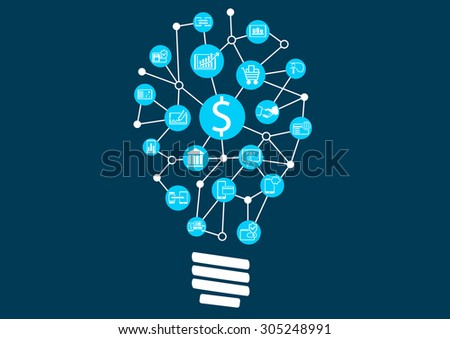 New digital technology within financial services business. Creative idea finding represented by light bulb.  - stock vector