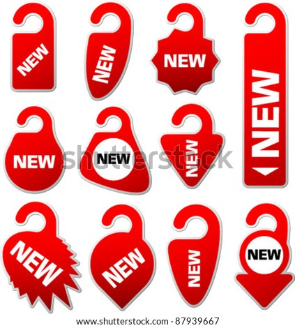 New door hanger Label. Red  Door Warning Messages isolated on white background. Graphic Design Editable For Your Design.  - stock vector