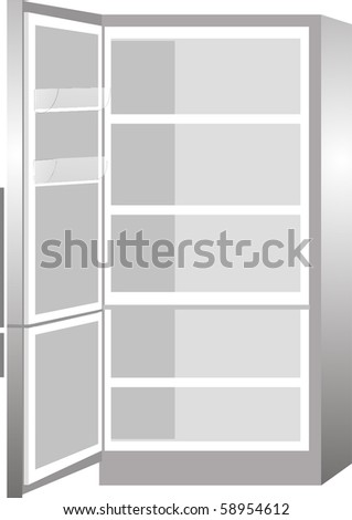 New empty refrigerator with the door open isolated on white background - stock vector