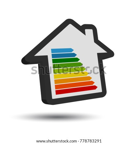 Good New Energy Class Table   3D House Icon With Shadow