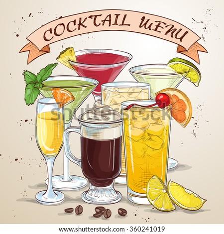 New Era Drinks Coctail menu - stock vector