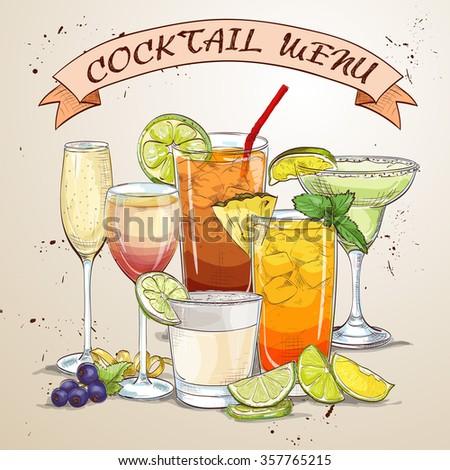 New Era Drinks Coctail menu, excellent vector illustration, EPS 10 - stock vector