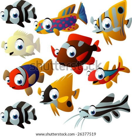 NEW extra big vector fish set