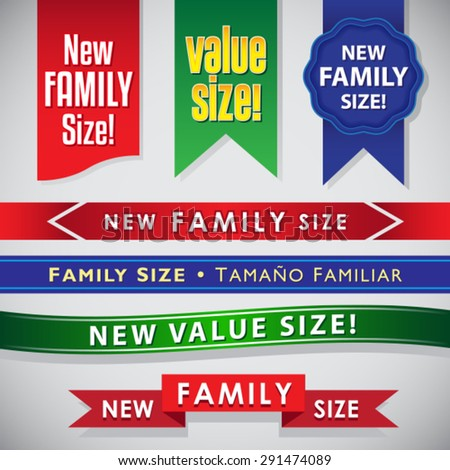New Family Size and Value Size icons, seals and ribbons set - stock vector