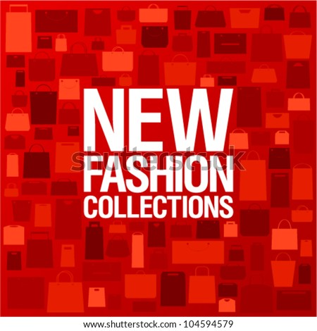 New fashion collections design template with shopping bags pattern. - stock vector