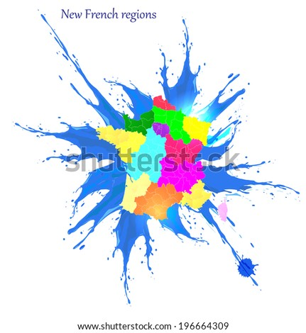 New French regions. Nouvelles regions de France. Separated departments. Blue splash background - stock vector
