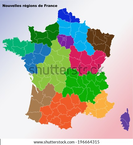 New French regions. Nouvelles regions de France. Separated departments. French flag background - stock vector