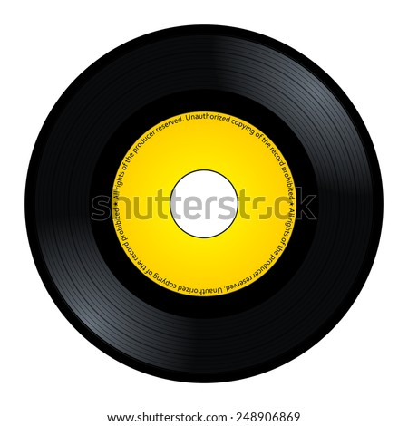 New gramophone vinyl. Black music long play album disc 45 rpm. lp with copy space, add text or graphic to blank record yellow color label, vector art image illustration isolated on white background - stock vector