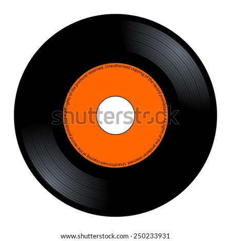 New gramophone vinyl. Black music long play album disc 45 rpm. lp with copy space, add text or graphic to blank record orange color label, vector art image illustration isolated on white background - stock vector