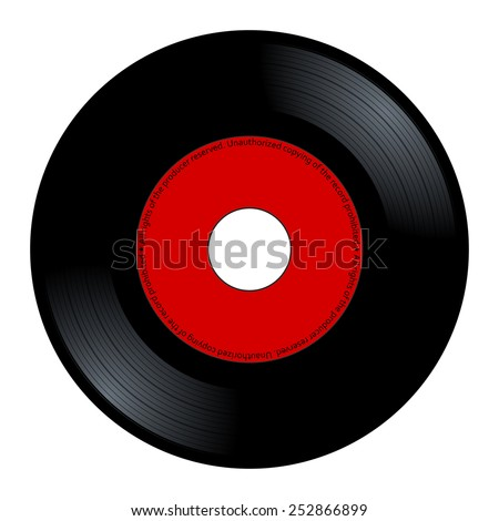 New gramophone vinyl. Black music long play album disc 45 rpm. lp with copy space, add text or graphic to blank record red color label, vector art image illustration isolated on white background eps10
