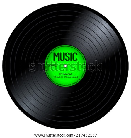 New gramophone vinyl LP record with green label. Black musical long play album disc 33 rpm, vector art image illustration, isolated on white background eps10 - stock vector