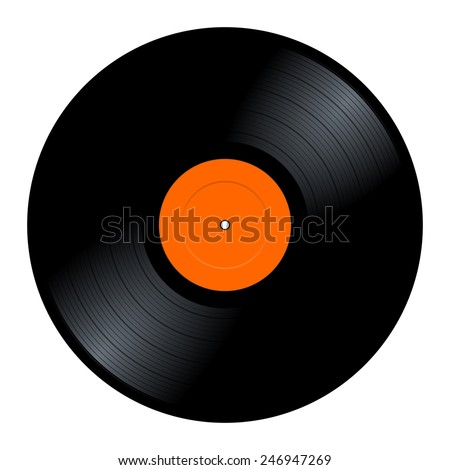 New gramophone vinyl LP record with orange label. Black musical long play album disc 33 rpm. old technology, realistic retro design, vector art image illustration, isolated on white background eps10 - stock vector