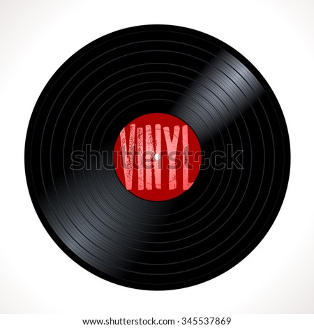 New gramophone vinyl LP record with red label. Black musical long play album disc 33 rpm. old technology, realistic retro design, vector art image illustration, isolated on white background eps10 - stock vector