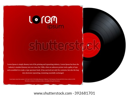 New gramophone vinyl LP record with red label in paper case. Black musical long play album disc 33 rpm in cover envelope. old technology, vector art image illustration, isolated on white background - stock vector