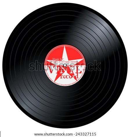 New gramophone vinyl LP record with red label, star and text. Black musical long play album disc 33 rpm. old technology, retro design, vector art image illustration, isolated on white background - stock vector