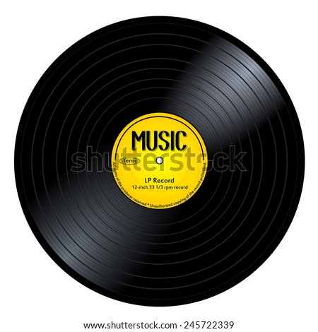 New gramophone vinyl LP record with yellow label. Black musical long play album disc 33 rpm. old technology, realistic retro design, vector art image illustration, isolated on white background eps10  - stock vector