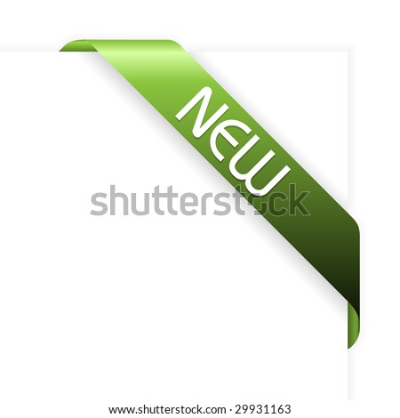 New green corner ribbon - stock vector
