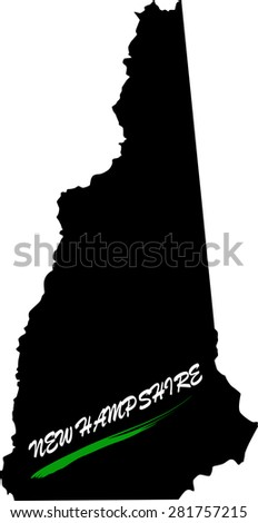 New Hampshire map vector in black and white background, New Hampshire map outlines in a new design - stock vector