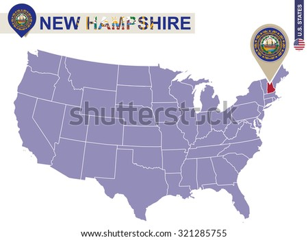 New Hampshire State On Usa Map New Hampshire Flag And Map Us States